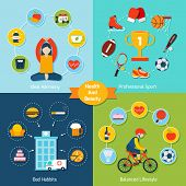 foto of  habits  - Health and beauty set with ideal harmony professional sport bad habits balanced lifestyle icons flat isolated vector illustration - JPG
