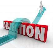 image of rejection  - Objection word in 3d letters and a man jumping over it on an arrow to illustrate overcoming a challenge - JPG