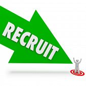 stock photo of recruiting  - Recruit arrow pointing at the top or best job candidate who applied for the work opening and found by a recruitment firm - JPG