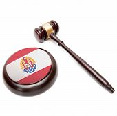 picture of french polynesia  - Judge gavel and soundboard with national flag on it  - JPG