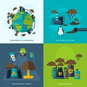 picture of environmental pollution  - Pollution design concept set with environmental contamination bacteriological danger operating plants flat icons isolated vector illustration - JPG