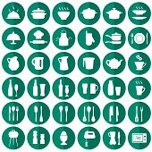stock photo of chef knife  - vector cooking kitchen icons - JPG