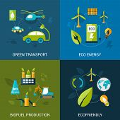 foto of solar battery  - Bio fuel design concept set with green transport eco energy biofuel production flat icons isolated vector illustration - JPG