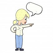 picture of enthusiastic  - cartoon enthusiastic woman pointing with speech bubble - JPG