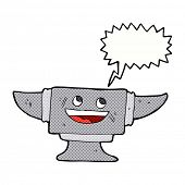 image of anvil  - cartoon blacksmith anvil with speech bubble - JPG