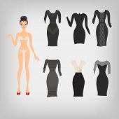 stock photo of little black dress  - Vector cute simple dress up paper doll with an assortment of classic little black dresses - JPG