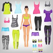 stock photo of doll  - Vector dress up paper doll with an assortment of sports and running fashionable clothes - JPG
