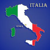 picture of cartographer  - National flag of Italy against the background of its geographical map - JPG