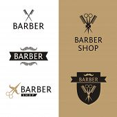 image of barber  - Vector heraldic logo for a hairdressing salon - JPG