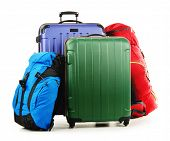 picture of knapsack  - Luggage consisting of large suitcases and rucksack isolated on white - JPG