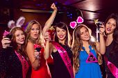 image of hen party  - Pretty friends on a hen night at the nightclub - JPG