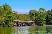 pic of trestle bridge  - Rustic wooden trestle across the Bearskin State Trail in Minocqua Wisconsin - JPG