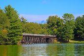 foto of trestle bridge  - Rustic wooden trestle across the Bearskin State Trail in Minocqua Wisconsin - JPG