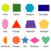 stock photo of heptagon  - image of shapes chart for kids  isolate on white - JPG