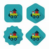 image of cylinder pyramid  - Train Toy Flat Icon With Long Shadow - JPG