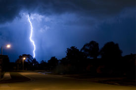 image of lightning bolt  - Massive close lightning strike in a column of rain - JPG