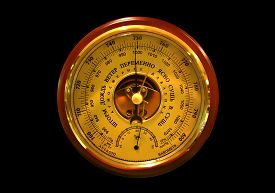 pic of barometer  - Barometer close up on the black background  - JPG