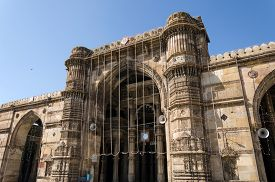 stock photo of saracen  - Jama masjid mosque in Ahmedabad, Gujarat, India ** Note: Soft Focus at 100%, best at smaller sizes - JPG