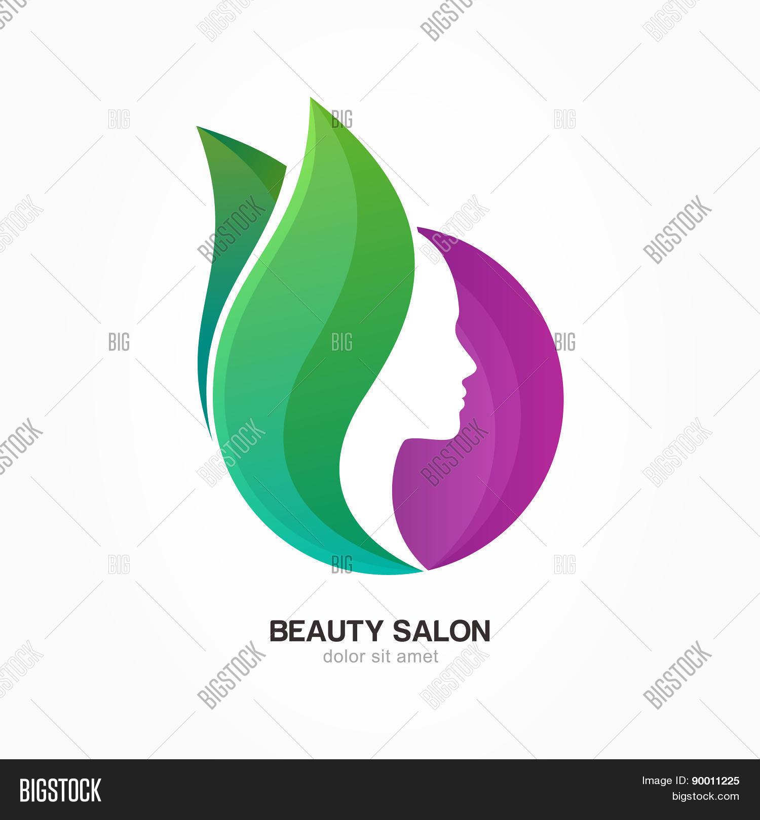 Woman 39 s face purple circle shape vector photo bigstock for Abstract beauty salon