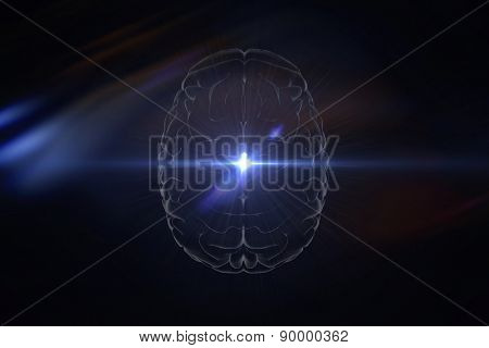 brain against blue glow