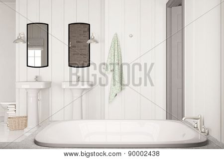 Bright clean bath with bathtub and two sinks under mirror on wall (3D Rendering)