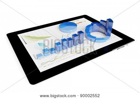 3D financial graph on a tablet computer for financial analysis (3D Rendering)