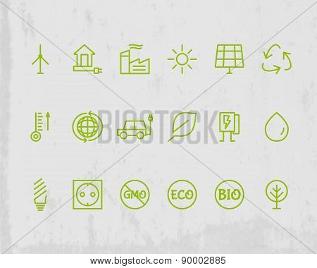 Green, Ecology and environmental protection outline icon set. Thin line design. Eco technologies. Is