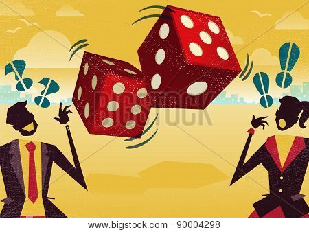 Business People Play The Dice Of Business Fortune.
