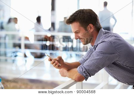 Portrait of man in office using smart phone