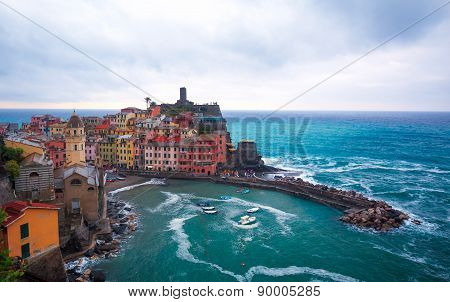 Vernazza, Liguria Italy. The village of Vernazza as seen from the mount above, during evening.