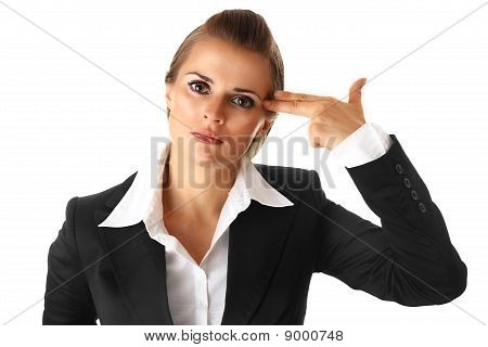 stressed modern business woman with gun shaped hand isolated on white background