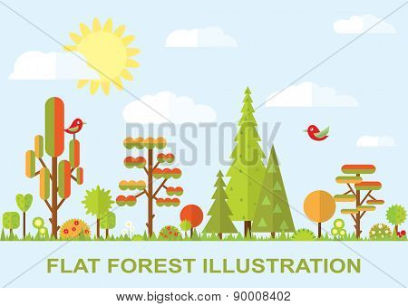 Flat vector tree illustration, autumn, flower, spruce