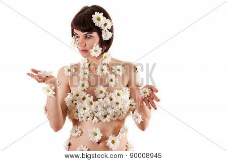 woman surprised blossom chrysanthemums on the body