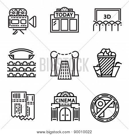 Cinema flat line vector icons