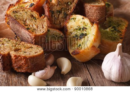 Slices Of Toasted Bread With Herbs And Garlic. Horizontal, Rustic