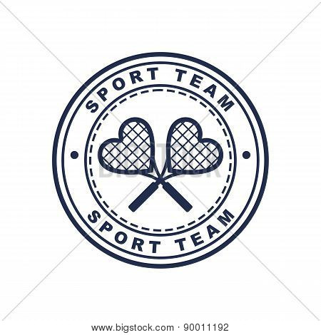 Vintage Style Tennis Label With Two Heart Shaped Rackets. Vector Logo Design Template. Concept For S