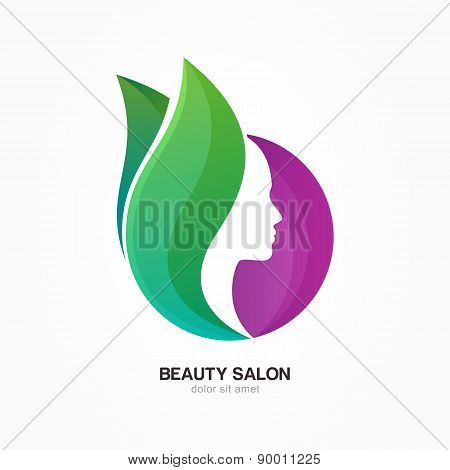 Woman's Face In Purple Circle Shape With Green Flower Leaves. Vector Logo Design Template. Abstract