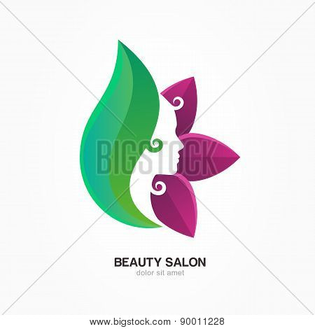 Beautiful Woman's Profile Face In Purple And Green Flower Leaves. Vector Logo Design Template. Abstr