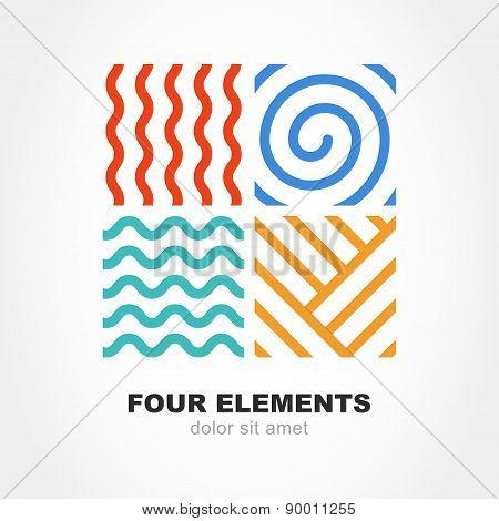 Four Elements Simple Line Symbol. Vector Logo Template. Abstract Design Concept For Nature Energy, T