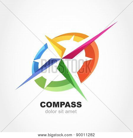 Abstract Multicolor Compass Symbol. Vector Logo Design Template. Modern Concept For Travel, Tourism,