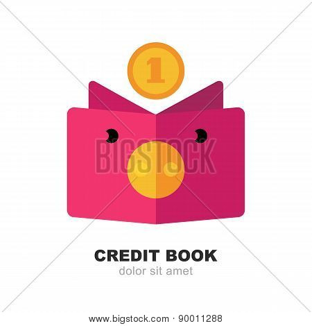 Abstract Pig Moneybox, Book And Fall Coin. Vector Logo Design Template. Modern Flat Concept For Cred