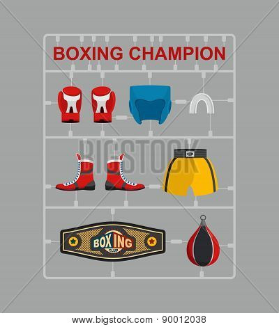 Boxing champion Plastic model kits. Training and Competition. Vector illustration