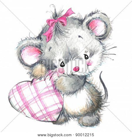 Valentine Day. Background for card with cute little animal