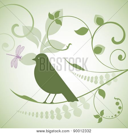 Bird. dragonfly and foliage
