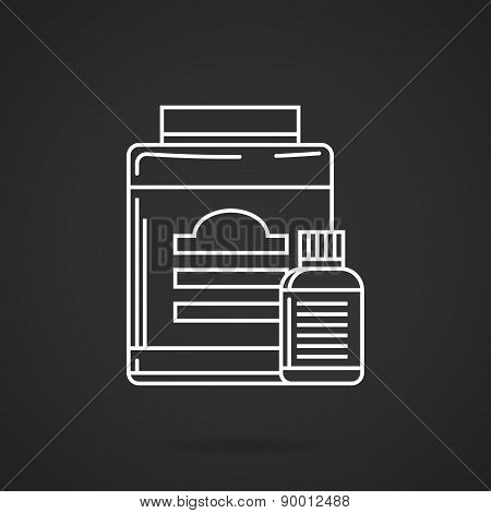 Supplements jars flat line vector icon