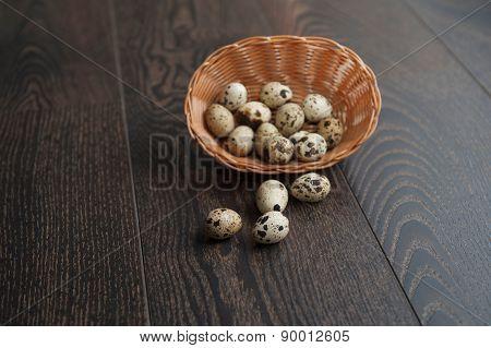 Easter Eggs In A Beautiful Wicker Basket