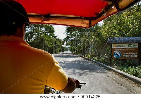 Rickshaw entering Machalilla National Park, Ecuador