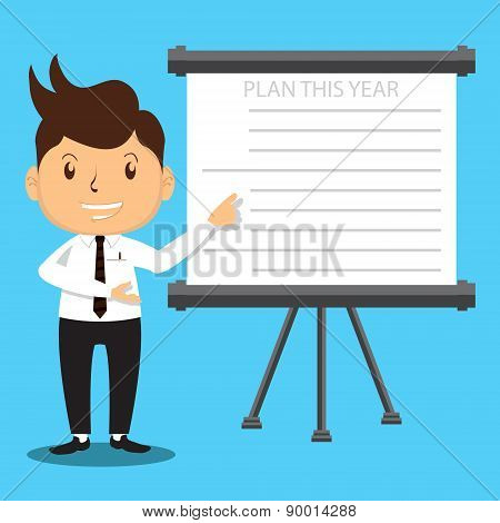 Office Man Presenting Plan Projector