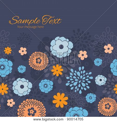Vector golden and blue night flowers horizontal frame seamless pattern background