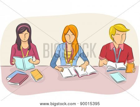 Illustration of College Students Studying Side by Side